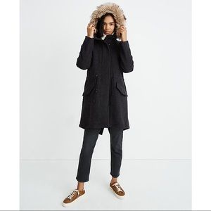 NWT Madewell Vancouver Wool Blend Parka with Faux